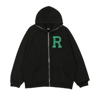 OV ERSIZED ZIPPED HOODIE WITH BADGE AND PRINT