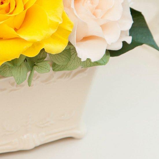 黄色のプリザーブドフラワー 小さなアレンジメント キティー(イエロー) ※ギフトタイプ3