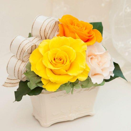 黄色のプリザーブドフラワーのバラの小さなアレンジ KITTY(YELLOW)