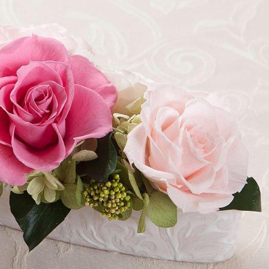 ピンクのプリザーブドフラワー テーブルフラワーアレンジ パトリシア (ピンク) ※ギフトタイプ3