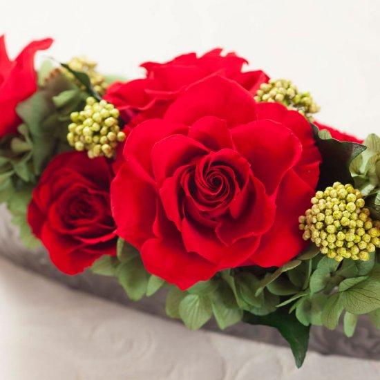 赤いバラのプリザーブドフラワーのテーブルフラワーアレンジ (小)PATRICIA (赤)