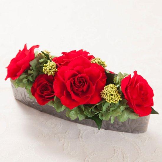 赤いバラのプリザーブドフラワーのバラのテーブルアレンジ PATRICIA (RED)