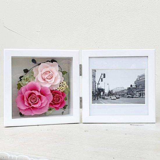 ピンクのバラのプリザーブドフラワーの写真立て(フォトフレーム) L(ピンク) ※ギフトタイプ2