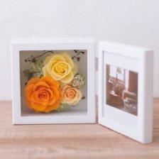 黄色とオレンジ プリザーブドフラワーの写真立て(フォトフレーム) L(YELLOW)