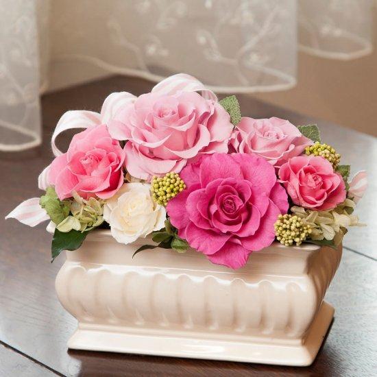 ピンクのバラのプリザーブドフラワーのフラワーアレンジメント MARY(PINK)