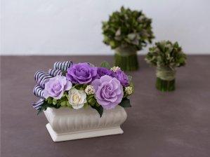 紫のバラのプリザーブドフラワーアレンジメント MARY(PURPLE)