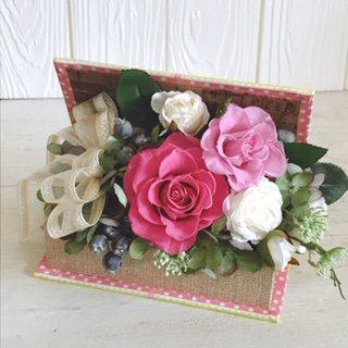 ピンクのバラのプリザーブドフラワー ブック型フラワーアレンジメント(ピンク) ※ギフトタイプ3