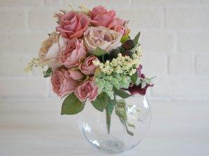 バラのスパイラルブーケ+ガラスの花瓶付き