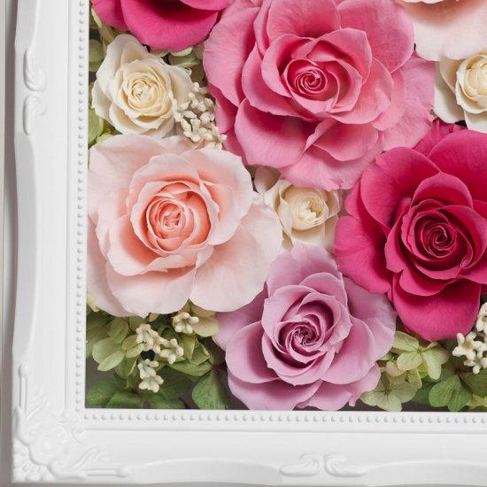 ピンクのプリザーブドフラワー 壁掛け豪華なボックスフレームアレンジメント ヨーロピアン ピンク