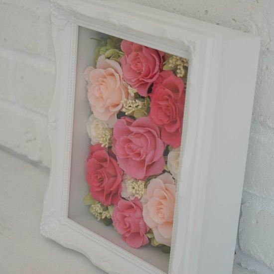 ピンクのプリザーブドフラワー 壁掛け豪華なフレームアレンジメント ヨーロピアン ピンク