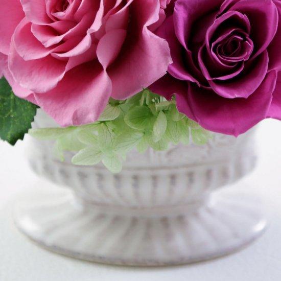 ピンクのバラとアジサイのプリザーブドフラワーアレンジ  ラマージュ(ピンク)