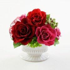 赤のバラとアジサイのプリザーブドフラワーアレンジ  ラマージュ(レッド)