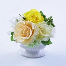 黄色のバラとアジサイのプリザーブドフラワーアレンジ  ラマージュ(イエロー)