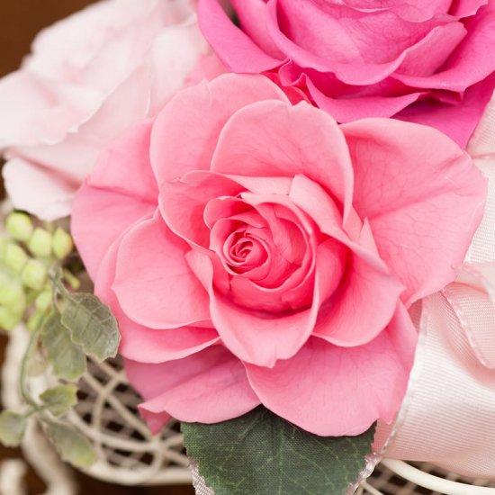 ピンクのバラのプリザーブドフラワーのピアノアレンジ  ピアノ(ピンク)