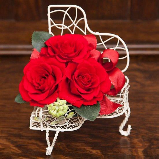 赤のバラのプリザーブドフラワーのピアノアレンジ  ピアノ(レッド)