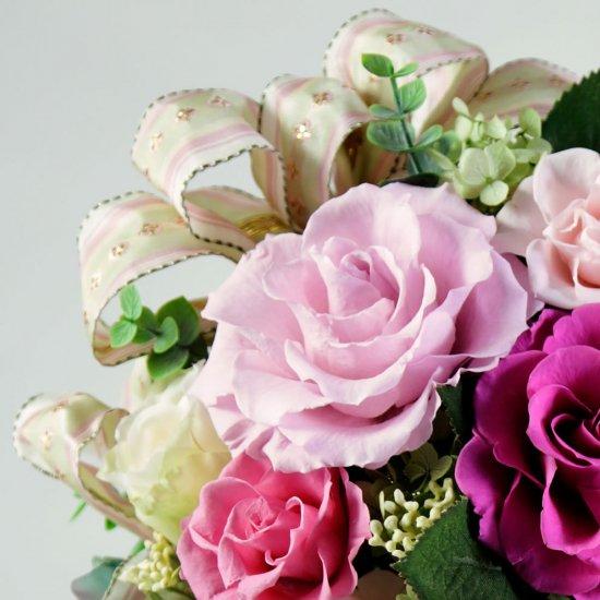 豪華なピンクのバラのプリザーブドフラワーアレンジ  エリザベス