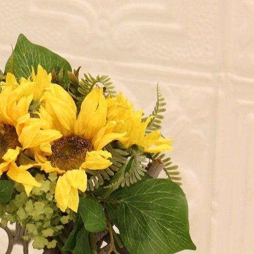夏に鮮やか!ひまわりの高級造花のフラワーリース