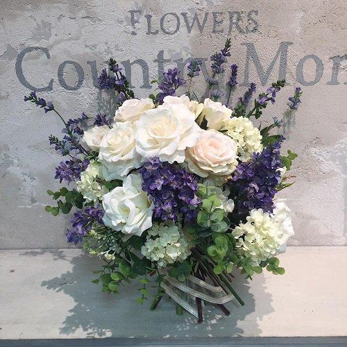 ライラックと白バラの爽やかなスパイラルブーケ 高級造花・プリザーブドフラワー