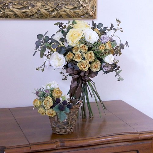 イエローローズのボタニカル ナチュラルクラッチブーケ(高級造花)