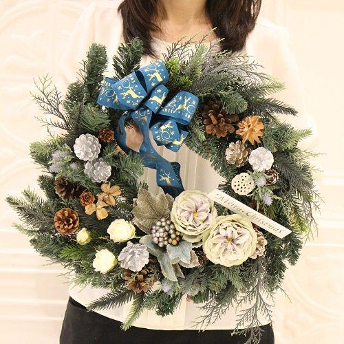 木の実たっぷり大きく豪華なクリスマスリース(大)