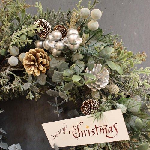 大きく豪華なスノーグリーンとシルバーベリーのクリスマスリース(大)