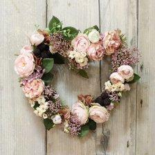 大人のハートリースでクリスマス  ピンク 高級造花