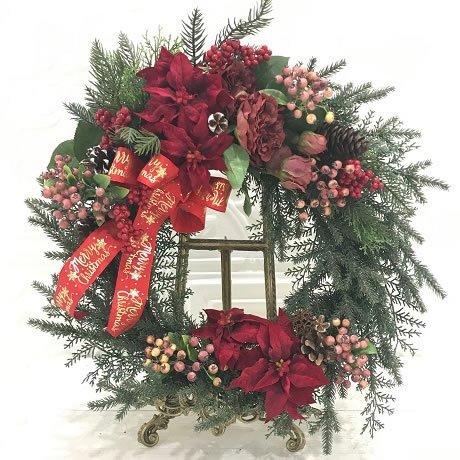 直径50センチ、大きな赤いポインセチアのクリスマスリース(大) 高級造花
