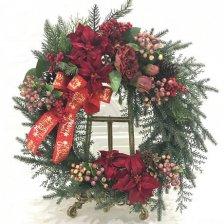 大きな真っ赤なポインセチアのクリスマスリース 高級造花