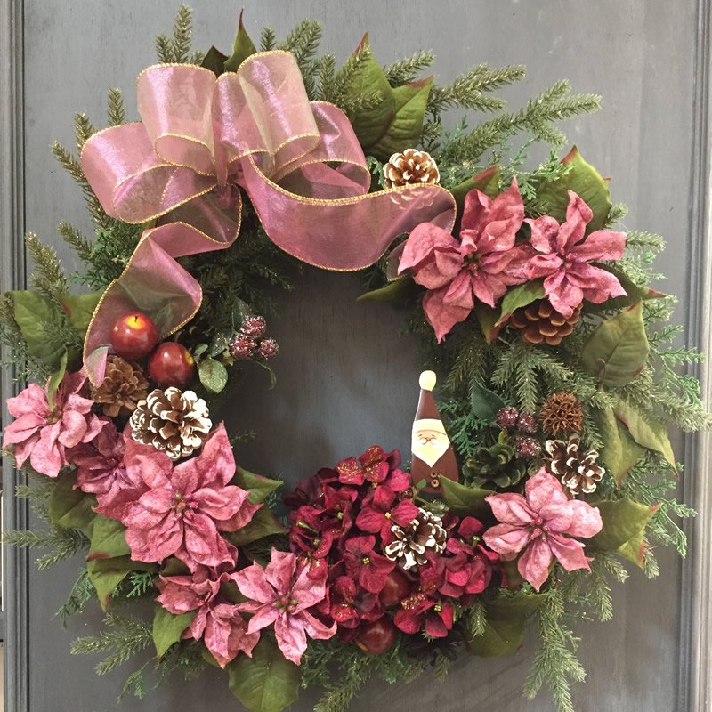 直径50センチ!ピンクのポインセチアが美しい大きく豪華なクリスマスリース
