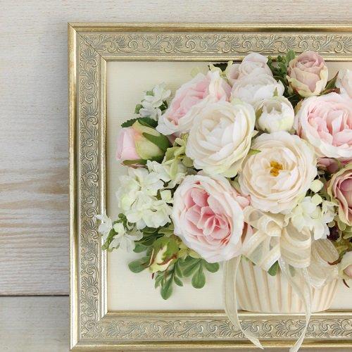 相澤紀子オリジナル 壁掛けフレームフラワー「花絵®」ベビーピンクのバラのアレンジ