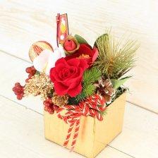 椿とバラのお正月アレンジ プリザーブドフラワー