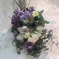 紫と白 ライラックとバラがたっぷり高級造花の大きなスワッグ