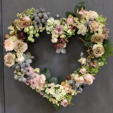 小花いっぱいのハートのリース  アーティフィシャルフラワー