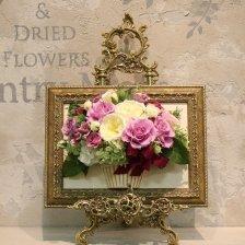 相澤紀子オリジナル フレームフラワー「花絵®」豪華なローズの壁掛けアレンジ