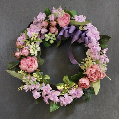 ライラックとピンクのバラのフラワーリース 高級造花