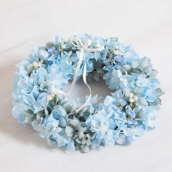 可愛い水色のアジサイの高級造花のフラワーリース