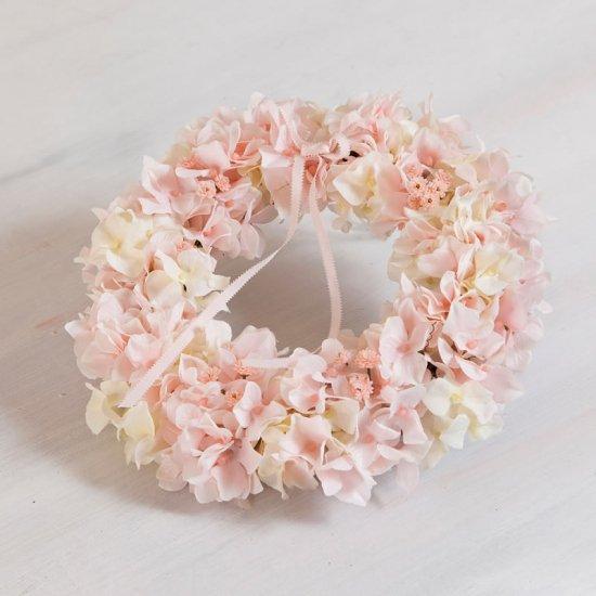可愛いピンクのアジサイの高級造花のフラワーリース