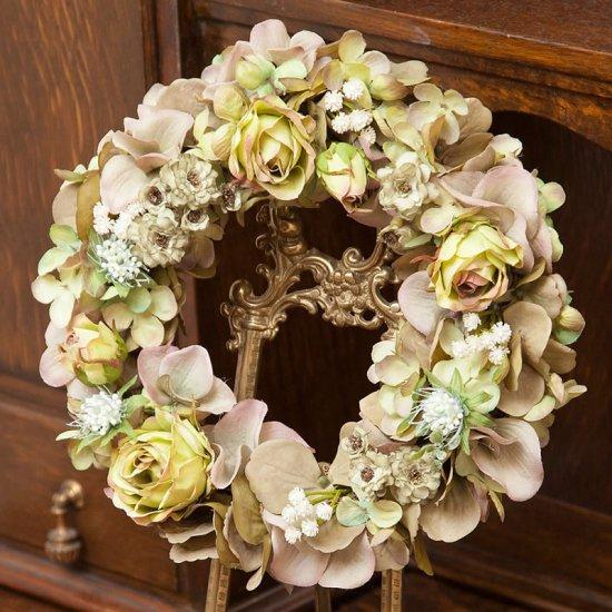 モダンシックなグリーンローズの高級造花のフラワーリース