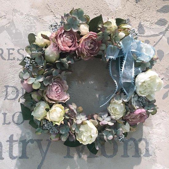 スモーキーカラーリース アジサイとバラ 高級造花