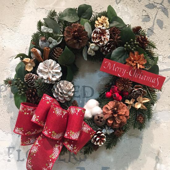 冬の大人テイストのクリスマスリース(大)※ギフトタイプ4