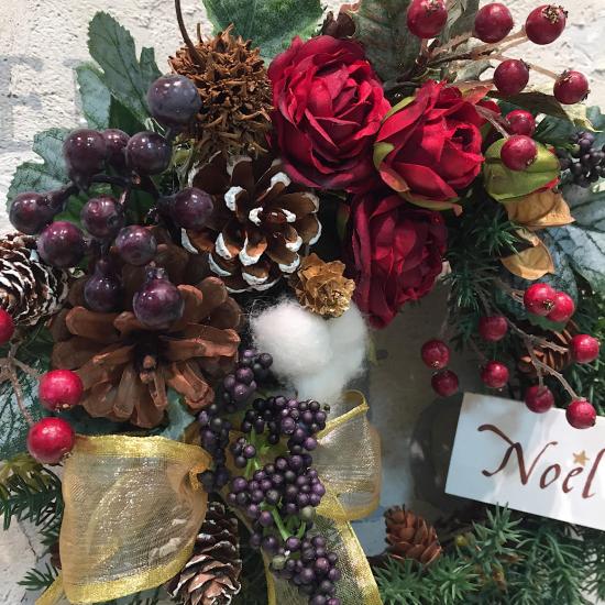 ローズと木の実のクリスマスリース(中)※ギフトタイプ4