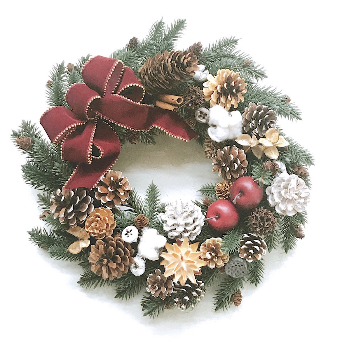 木の実のナチュラルクリスマスリース※ギフトタイプ4