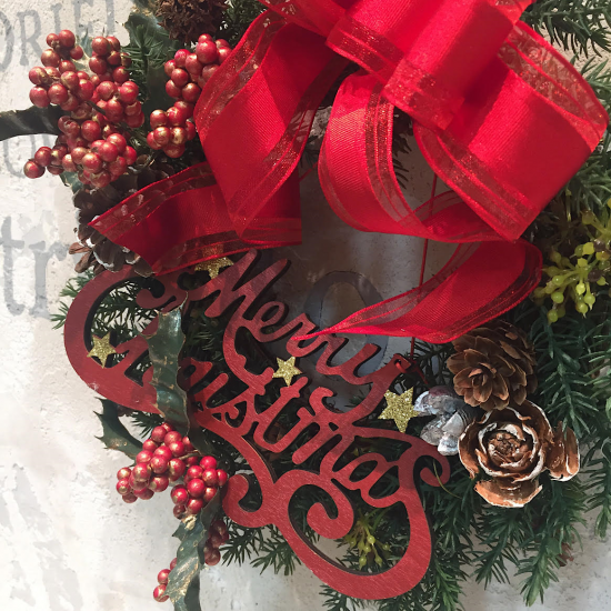 赤い実と木の実のクリスマスリース※ギフトタイプ4