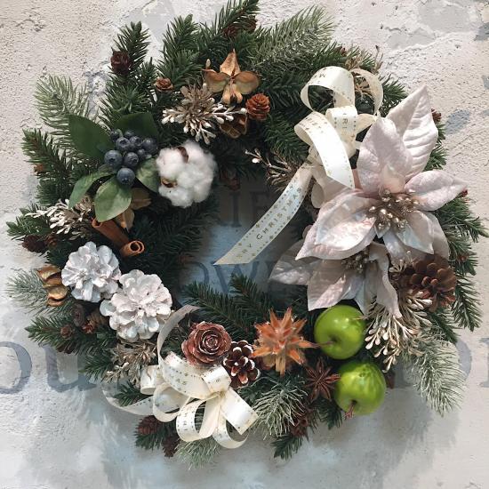 シルバーのポインセチアのクリスマスリース※ギフトタイプ4