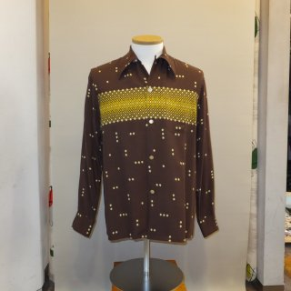 Vintage Atomic Print Style Box Shirt Long Sleeves Brown