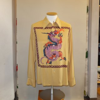 Vintage Style 50'S Dragon panel Box Shirt Long Sleeves