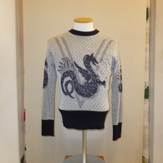 vintage 1950's style Wool sweater … Dragon sweater