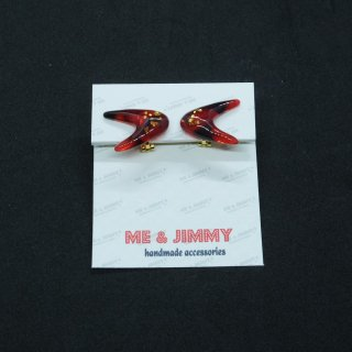Marble Boomerang Earring