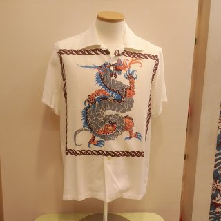 Vintage Style 50'S Dragon panel Box Shirt Short Sleeves