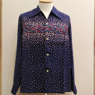 Vintage Seahorse Print Style Box Shirt Long Sleeves